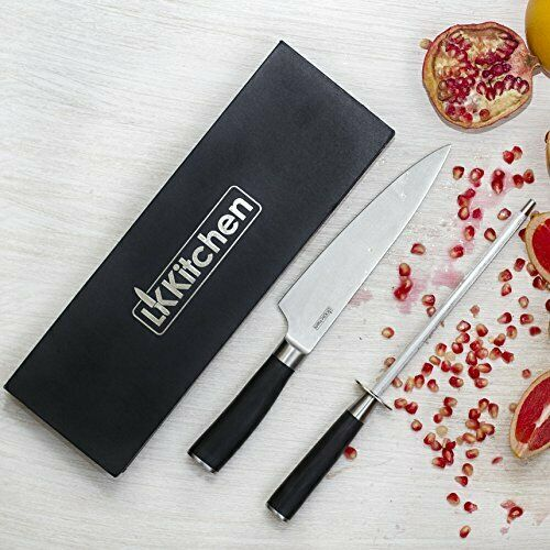 Chef's Kitchen Knife and Sharpener - Professional Set by LK Kitchen