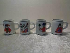 4X-Porcelana-Krug-Vaso-de-Precipitados-Original-DDR-Cartas-Con-Refranes
