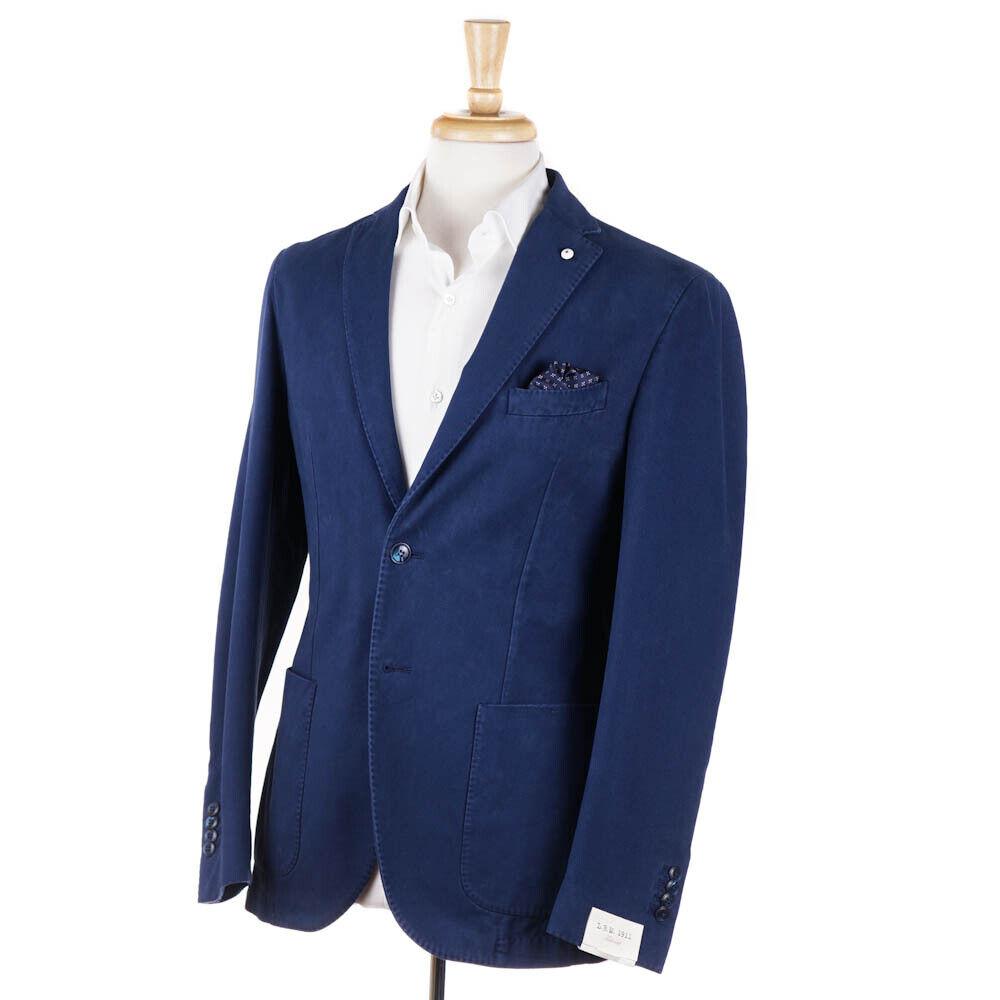 NWT  L.B.M. 1911 Washed bluee Soft Twill Cotton Sport Coat Slim 44 R (Eu 54)