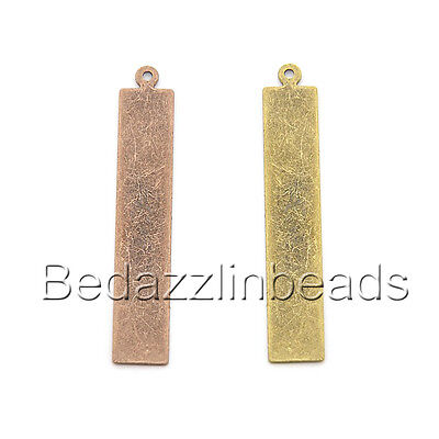 6 Blank 41mm Long Flat Rectangle Charm Pendants for DIY Stamping or Engraving