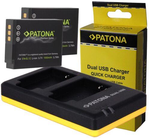 2x patonas para premium batería en-el12 dual doble cargador para Nikon Coolpix aw130