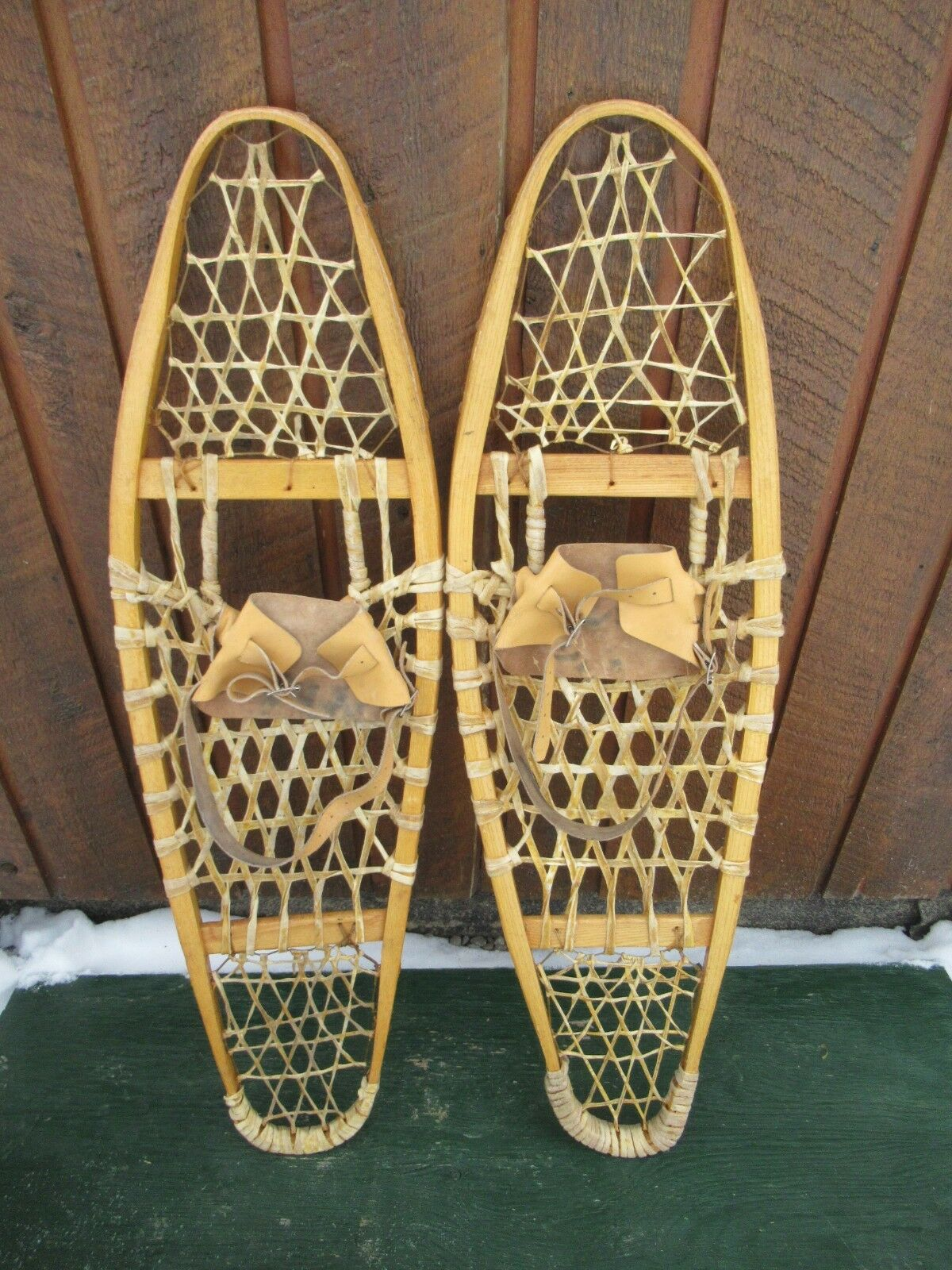 GREAT Snowshoes 37  Long x 10  Wide with Leather Binding Ready to Use