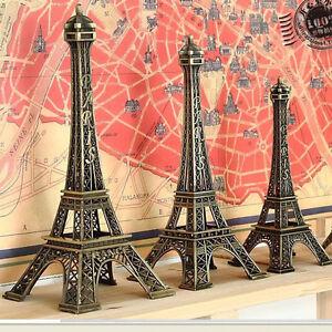 Vintage-Alloy-Bronze-Tone-Paris-Eiffel-Tower-Figurines-Statue-Model-Decor