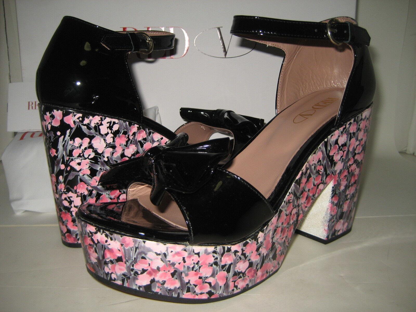 470 NEW rosso Valentino US 10 EU 40 Leather Floral Platform Heels Sandals scarpe