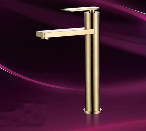 Pont monté brossé Laiton Or Cuisine évier Mélangeur lavabo robinet pivotant bec robinet