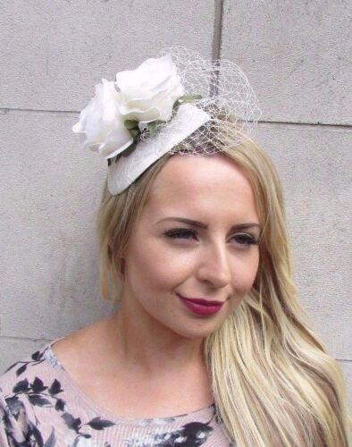 Ivory White Cream Rose Flower Fascinator Net Hair Headband Wedding Races 3110