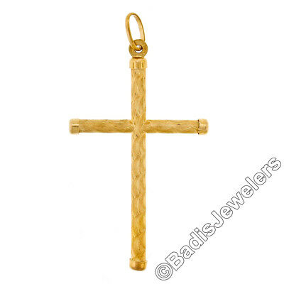 10K Gold Crucifix Cross Pendant for Men 50mm Tall Fits upto 7mm Necklace
