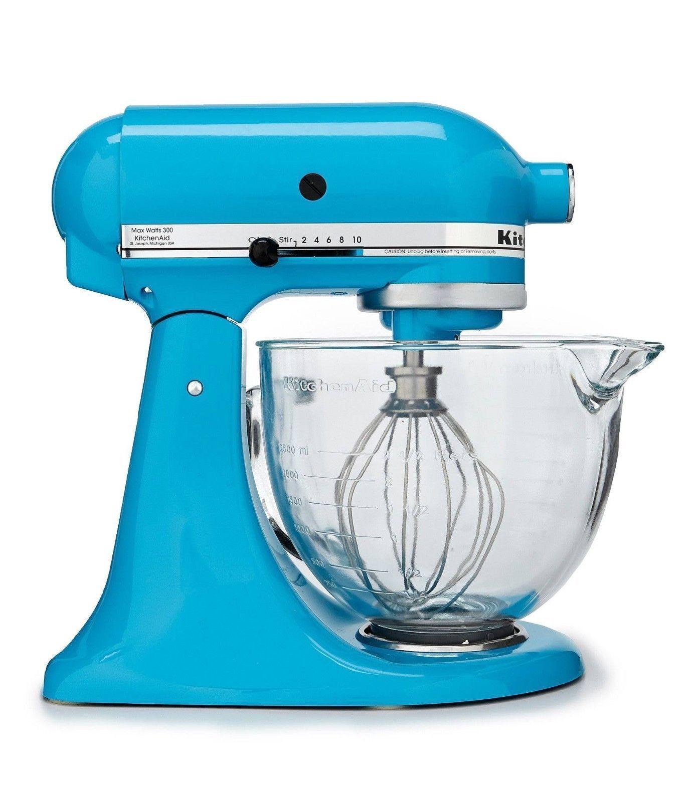 Brand New  KITCHENAID 5 Qt Tilt-Head Stand Mixer Bol en verre-cristal bleu