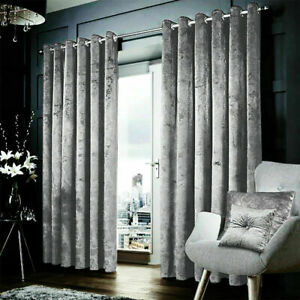 Silver-Grey-Heavy-Crushed-Velvet-Ready-Made-Fully-Lined-Eyelet-Ring-Top-Curtains