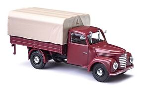 Busch-52351-Framo-V901-2-With-Flatbed-Tarpaulin-Red-Car-Model-1-87-H0