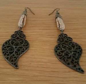 NEW-Hand-Made-Bronze-and-Cork-Earrings-from-Spain