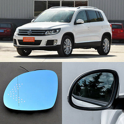 Rearview Mirror Blue Glasses LED Turn Signal with Power Heating For VW Tiguan