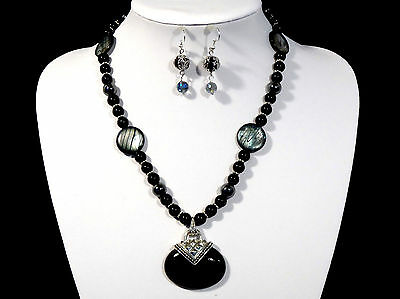Womans Handmade Necklace Black Onyx Agate Pendant and Earrings Gemstone Beads
