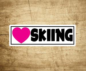 "Skiing Love Sticker Decal 4/"" x 1.2/"" Heart Ski"