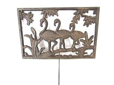 Cast Iron FLAMINGO Plaque Home Garden Wall Decor   eBay