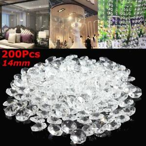 200PCS-Clear-Crystal-Glass-Chandelier-Part-Prisms-Octagonal-Beads-Decor-14MM