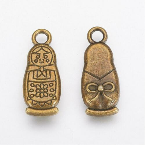 6 Matryoshka Charms Antiqued Bronze Russian Doll Pendants 2 Sided Findings