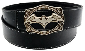 QHA Mens Batman Style Leather Belt For Men Antique Buckle Luxury Fashion Gift