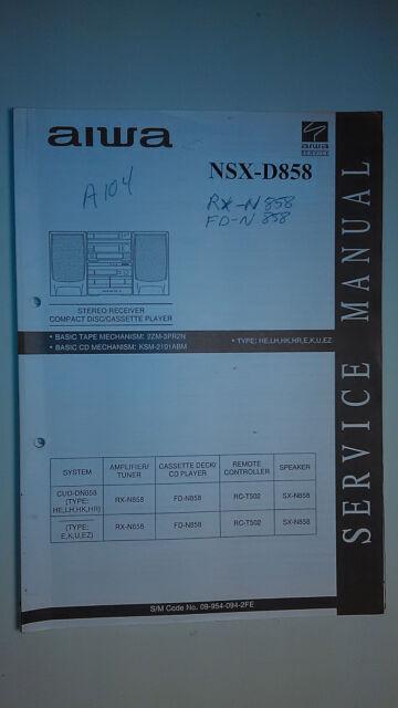 aiwa nsx d858 service manual original repair book stereo cd player rh ebay com Aiwa Bookshelf Stereo System Aiwa 3 CD Stereo System