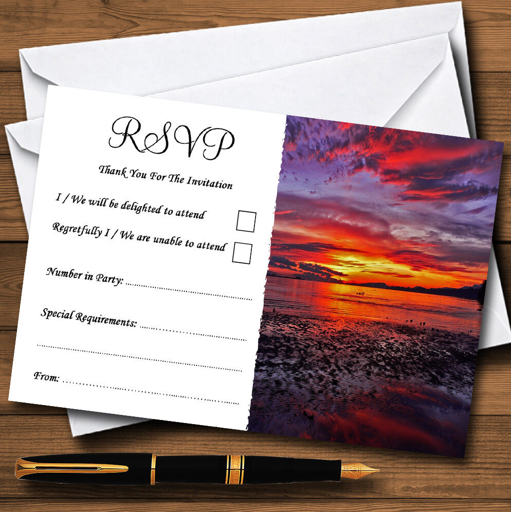 Beautiful lila Sunset Beach Personalised Wedding or Party RSVP Cards