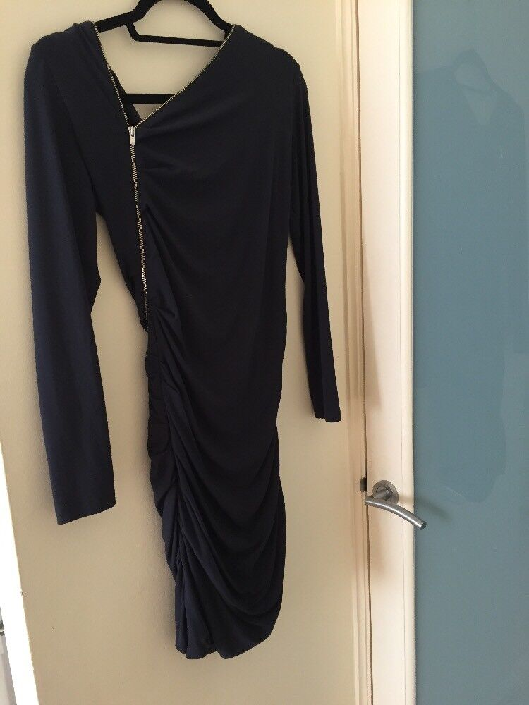 Maje Rouage Dress In Midnight Size FR 2