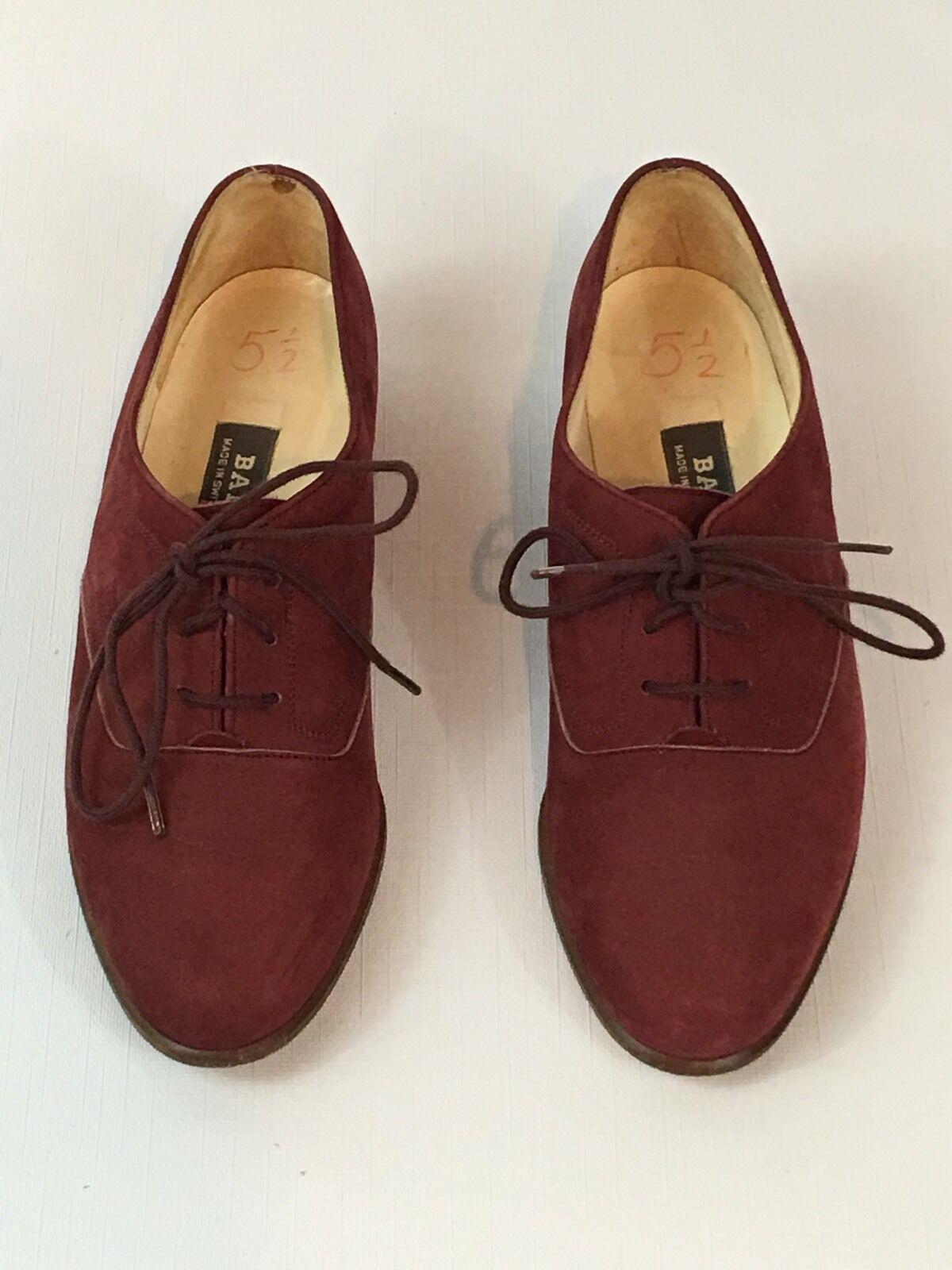 Donna Bally Wine Rossodish Leather/Suede Oxfords Size 3E -US 5 1/2 - Switzerland