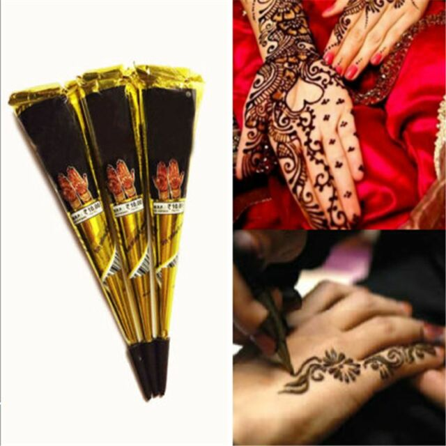 47189ef41cef2 Temporary Tattoo kit Black Natural Herbal Henna Cones Body Art Paint  Mehandi Ink