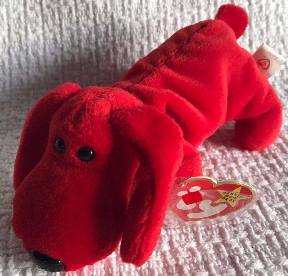 Selten im ruhestand ty beanie babies  rover  - hund - mehrere fehler 1996 pvc - pellets