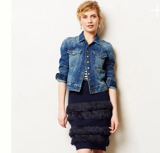 Fringed Ponte Pencil Skirt By Eva Franco SZ 2 Navy ANTHROPOLOGIE NWT  RT  168