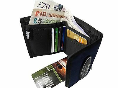 Mens Mans Canvas Velcro Black Rip Wallet Credit Cards Wallets by Jeep 760M