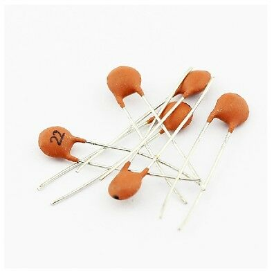 10℃ to 85℃ ±20/% 2.5x Rated Voltage 500Pcs 22pF 50Volt Ceramic Disc Capacitors