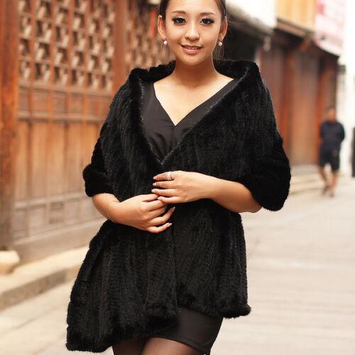 100/% Real Knit Mink Fur Scarf Cape Shawl Wrap Stole Coat Evening Spring Fashion