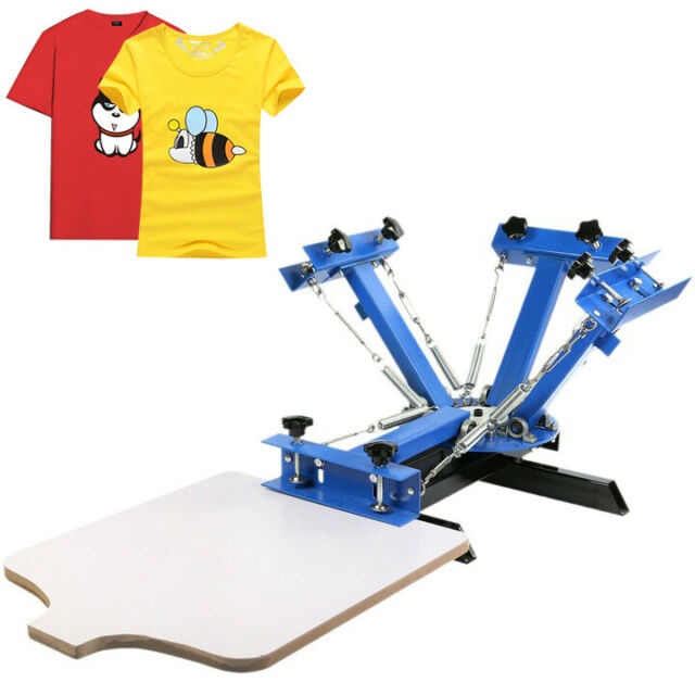 4 Color 1 Station Silk Screen Printing Machine T-Shirt Printer Wood Glass Press