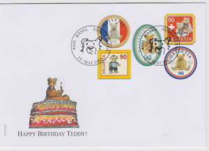 SUPERBE-LETTRE-FDC-1ER-JOUR-SUISSE-TEDDY-BEAR-OURS-15-05-2002