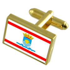 Salvador City Brazil Flag Cufflinks Engraved Box