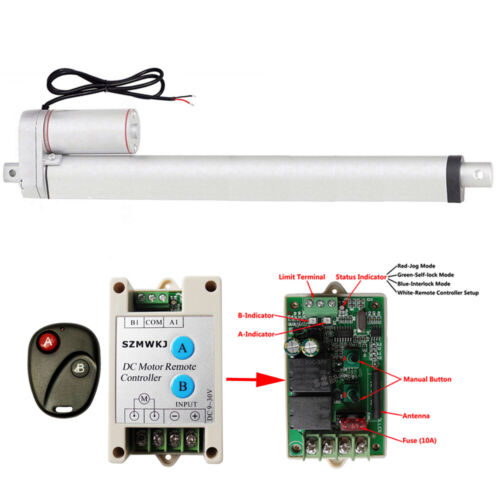"Heavy Duty 16/"" Stroke 330lbs 12V DC Linear Actuator /&Wireless Remote Controller"