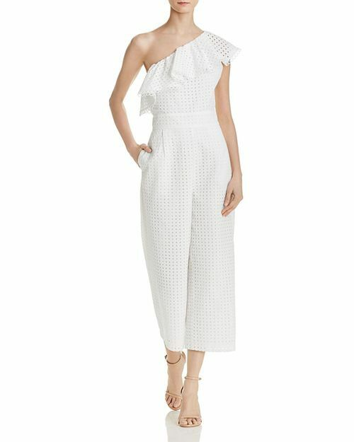 268 LAUNDRY BY SHELLI SEGAL Womens WHITE ONE SHOULDER LACE JUMPSUIT SIZE 8