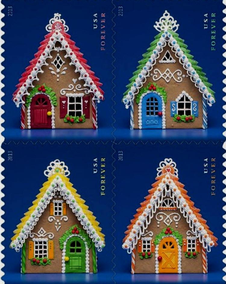 2013 46c Gingerbread Houses, Block of 4 Scott 4817-4820