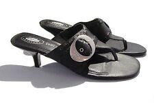 Dr Scholls The Originals Feel Crazy Good Black Sandals Leather Kitten Heel 10M