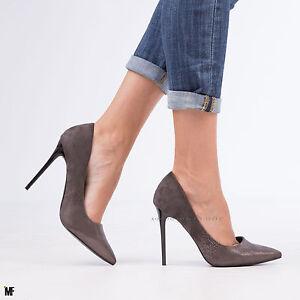 Dettagli su scarpe donna DECOLTè decollete punta tacco alto spillo camoscio sfumate MA16 502