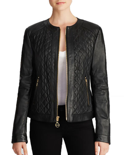 Laundry by Shelli Segal Quilted Leather Jacket