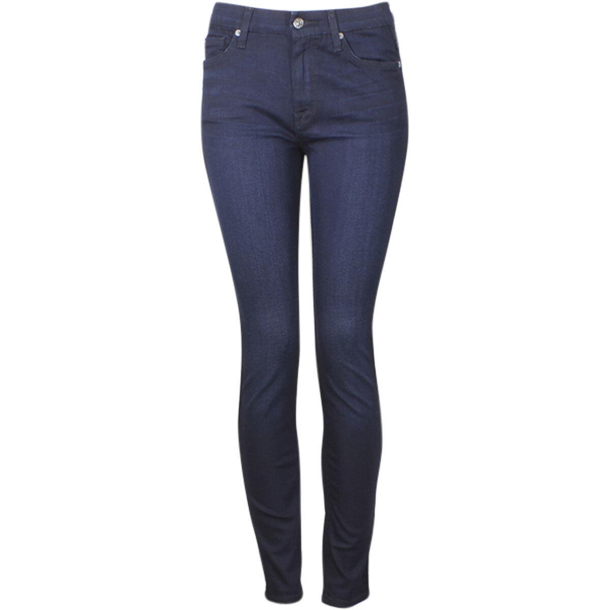 7 For All Mankind (B) Luft Hohe Größe Skinny Blau Schwarz Fluss Themse Jeans