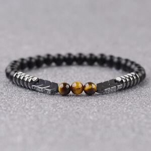 Men-Women-Natural-Matte-Onyx-Bead-Hematite-Arrow-Tiger-Eye-Stone-Energy-Bracelet