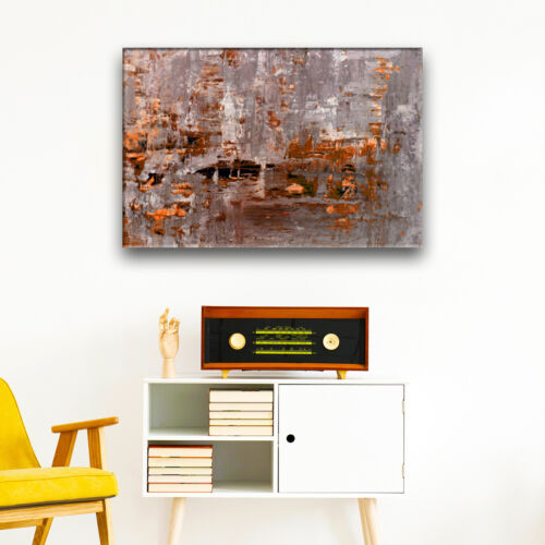 Orange Brown Grey Black Cool Abstract Canvas Wall Art Large Picture Print
