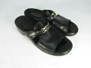 CLARKS-SLIP-ON-SANDALS-Black-7M-Leather-Uppers-70081-Slides-Slip-On