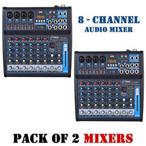 Pack-of-2-Pyle-PMXU83BT-BT-8Ch-Studio-DJ-Controller-Audio-Mixer-Console-System