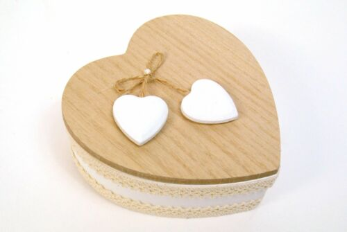 Jewellery Trinket Box Heart Shaped Wooden White with Cream Lace Necklace Brac...