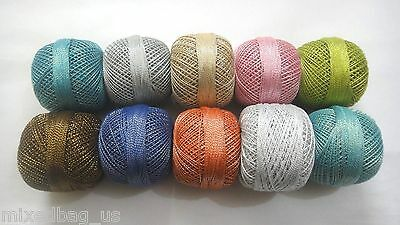 SET LOT - 10 Cotton Lurex Jari Zari Yarn Thread Crochet Lace Knitting Embroidery