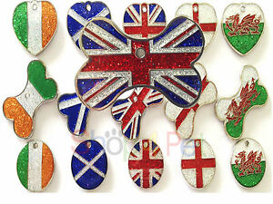 Dog-Cat-Tag-GLITTER-Country-Flag-Design-Pet-ID-Tags-with-ENGRAVING-OPTIONS