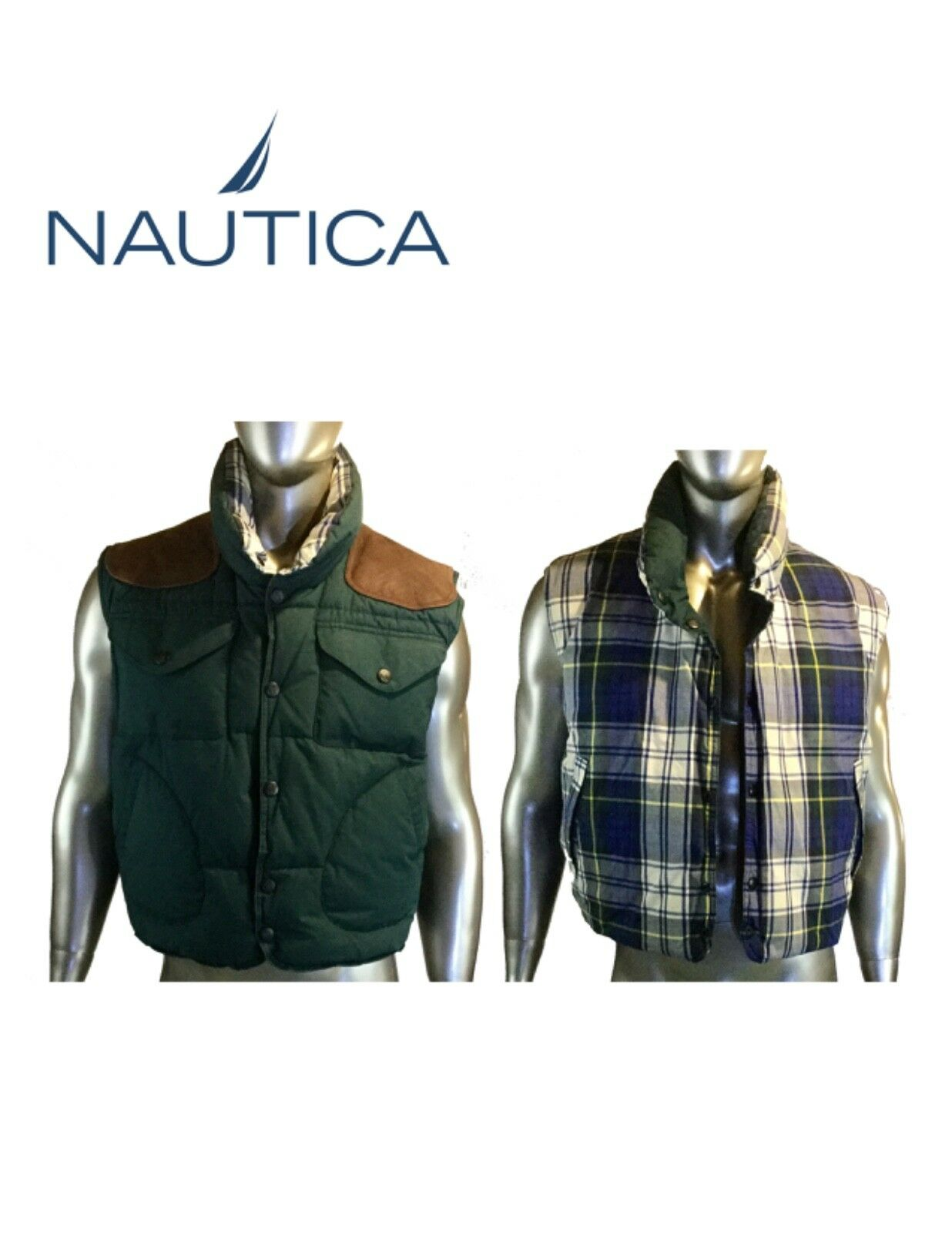 Vintage Nautica reversible puffer vest, See measurements for size